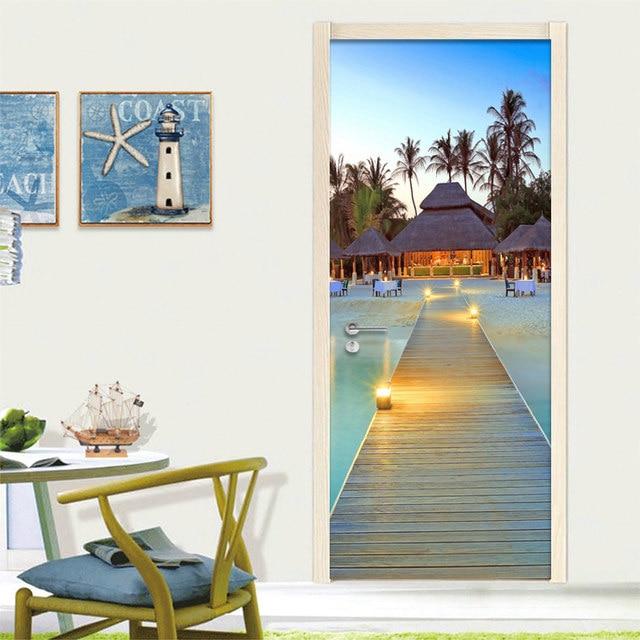 Photo Wallpaper Custom 3D Wall Mural Seaside Beach Landscape Door Mural  Sticker Living Room Restaurant Creative Decor Wall Paper