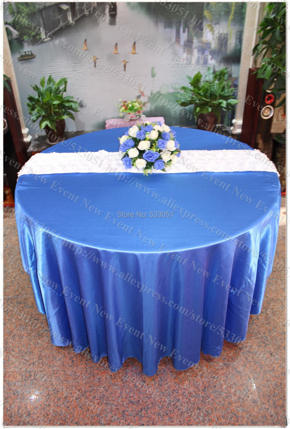 132 Round Royal Blue No 169 Satin Tablecloth Table Cover
