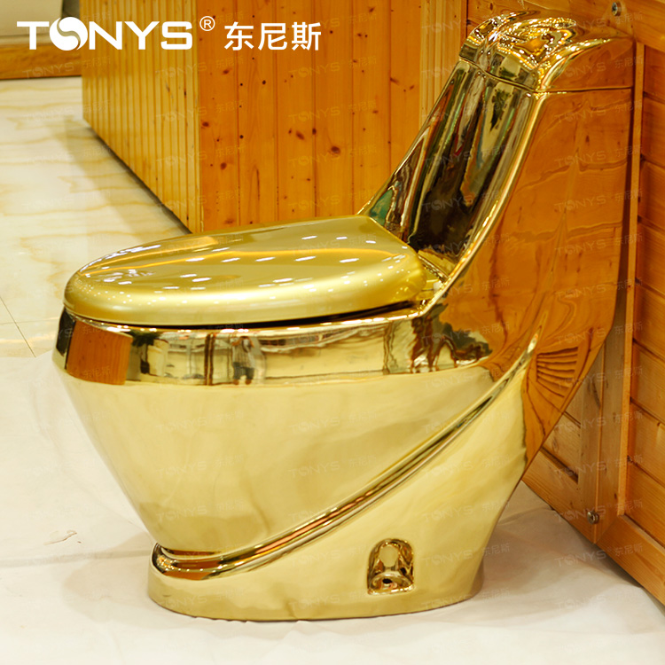 250mm Pit Spacing Gold Toilet Water Anti-odor Antibiotic Gold Toilet Bathroom One Piece Ceramic Closestool Siphon Type Stinkpot