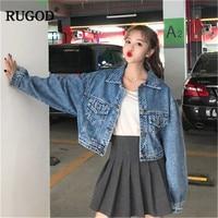 RUGOD Solid Short Women Jacket Coat Long Sleeve Vintage Fashion Women Jean Jacket 2019 Spring New Women Coat chaqueta mujer