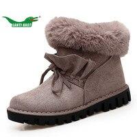 LANTI KAST Winter Plush Boots Women Warm Walking Shoes Rubber Sole Non Slip Shoes Thick Sole