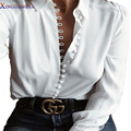 XINGUANGYA 2017 Spring Blusas Office female Solid White women's blouse Button Casual Long Sleeve Vintage Loose Tops Shirt