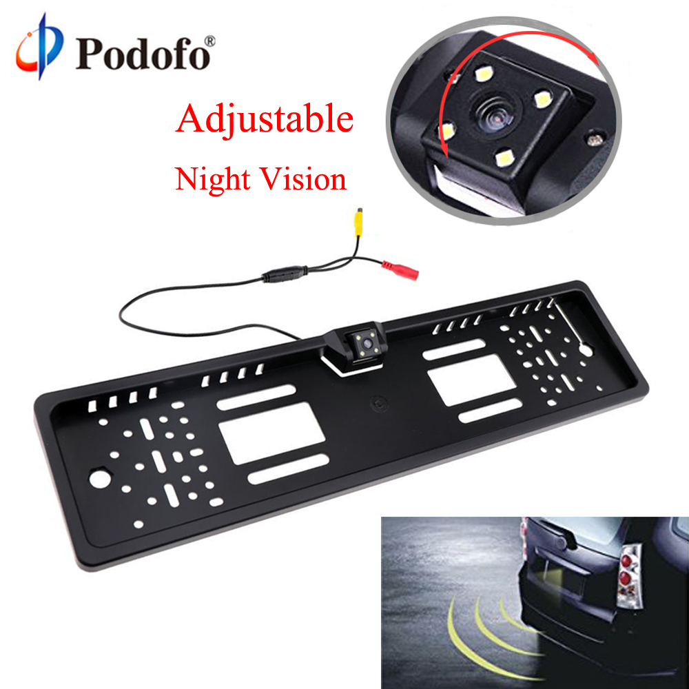 Podofo Car Rear View Camera EU European Car License Plate Frame Waterproof Auto Car Reverse Backup Rearview parking Camera