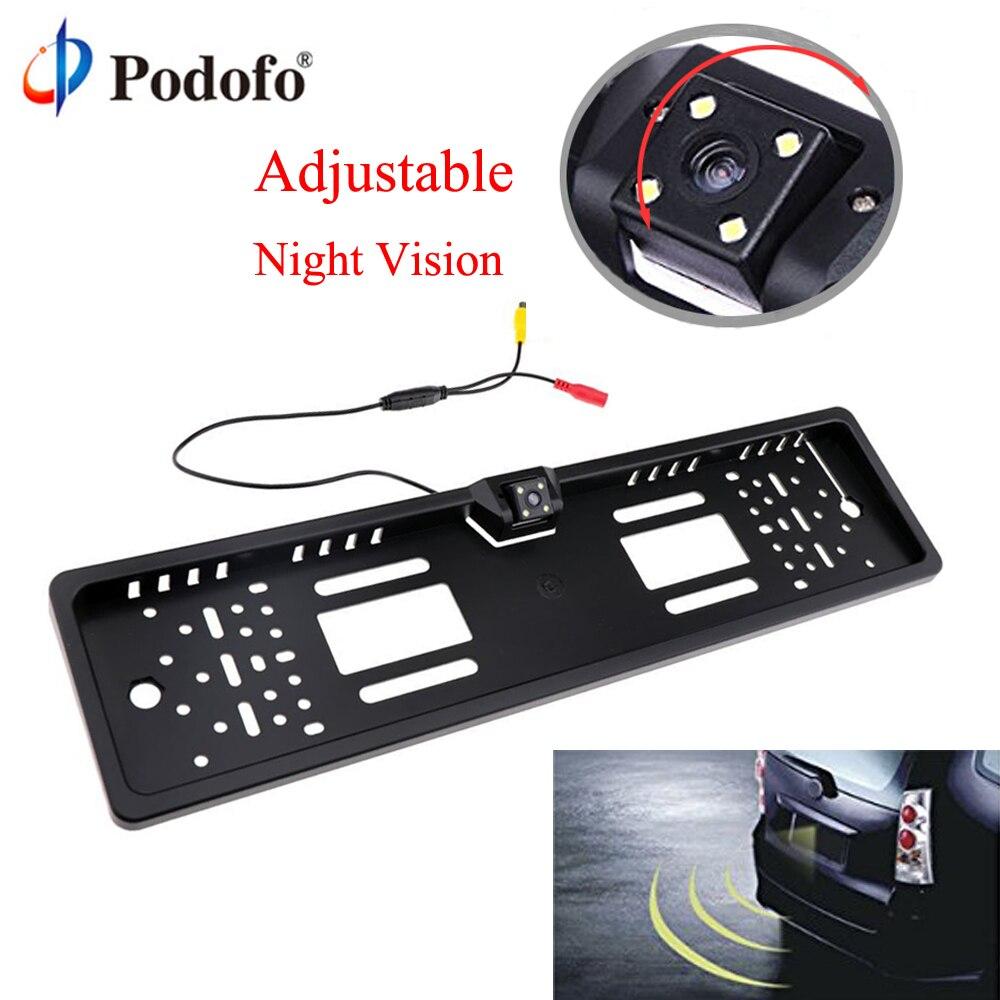 Podofo Car Rear View Camera Auto Europeo UE License Plate Frame Impermeabile Auto Car Reverse Backup Retrovisore Telecamera di parcheggio