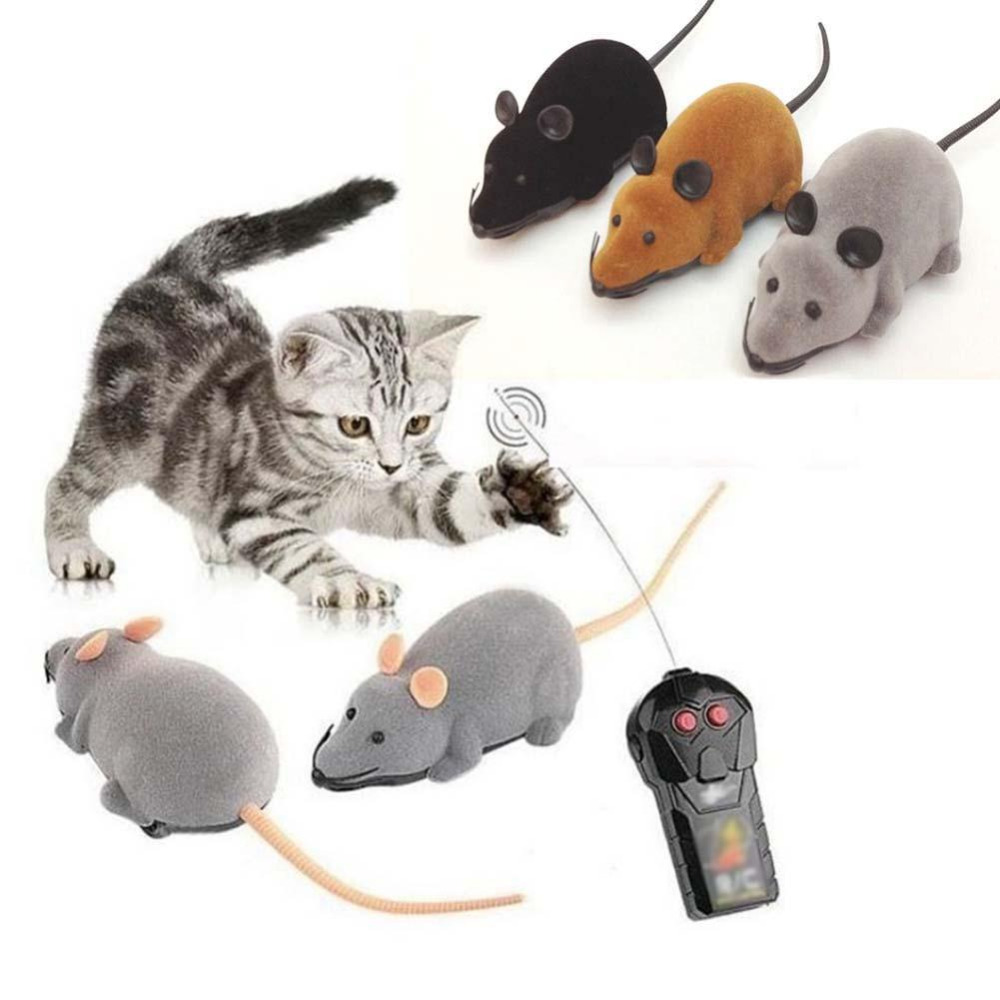 купить Cat Toy Wireless Remote Control Mouse Electronic RC Mice Toys Gift For Kids Mouse Lovely Cute Toy Black Brown Gray недорого