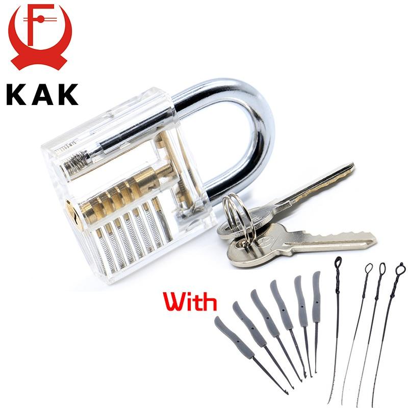 KAK Transparent Sichtbar Pick Cutaway Praxis Vorhängeschloss Mit Gebrochenen Schlüssel Entfernen Haken Sperre Kit Extractor Set Schlosser Werkzeug