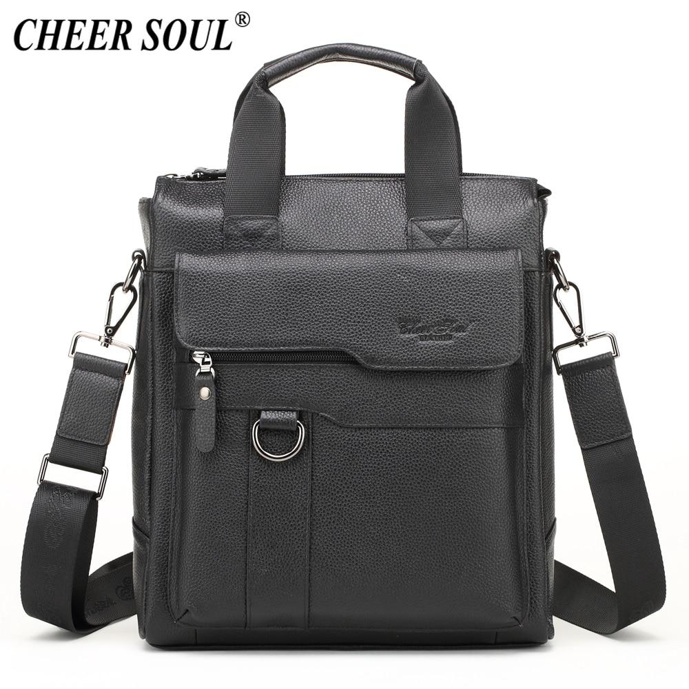 CHEER SOUL Genuine Leather Business Briefcase Men Shoulder Bag Messenger Bag Office Laptop Handbags Male Tote Crossbody Bags