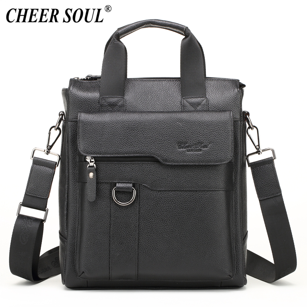 CHEER SOUL Genuine Leather Business Briefcase Men Shoulder Bag Messenger Bag Office Laptop Handbags Male Tote Crossbody Bags