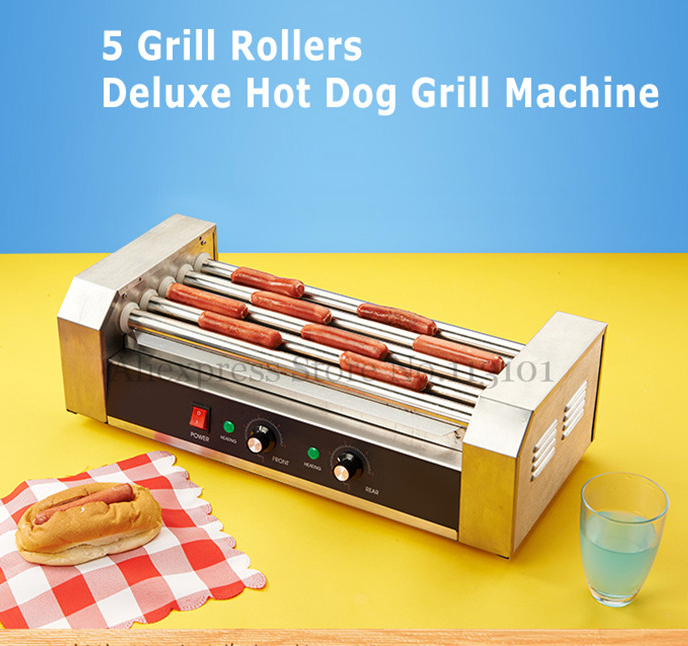 Hot Dogs Grill(5-roller) Electric Hot Dog Maker, Commercial Hot-dog Sausage Grill Roasting machine