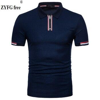 Hauts tout nouveau 2018 homme slim polo chemise décontracté été zipper design coton respirant à manches courtes polo chemise hommes EU grande taille