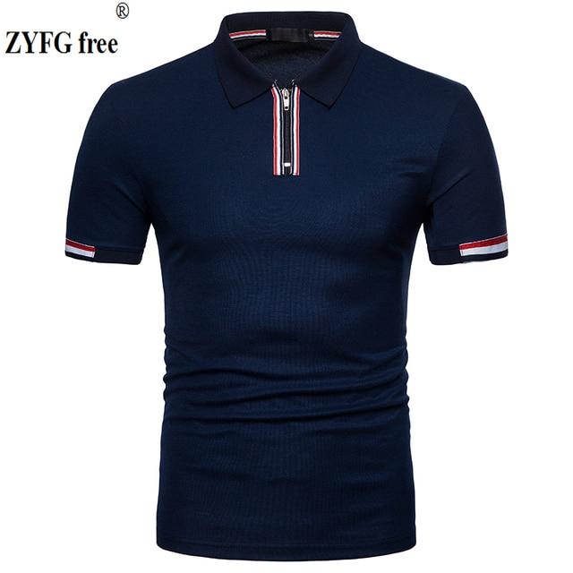 Polo à manches courtes pour homme, flambant neuf, slim, design en coton, avec fermeture éclair, respirant, grande taille, EU, 2018