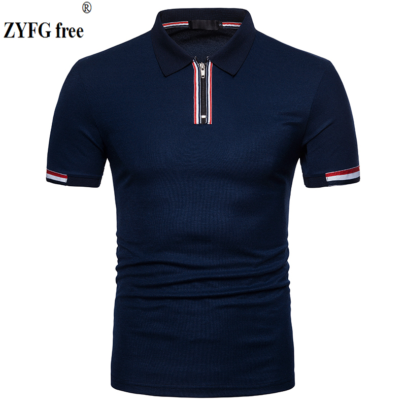 Tops brand New 2018 male slim   polo   shirt casual summer zipper design Cotton breathable short sleeve   polo   Shirt men EU large size