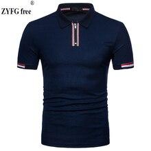 Tops brand New 2018 male slim polo shirt casual summer zipper design Cotton breathable short sleeve Shirt men EU large size