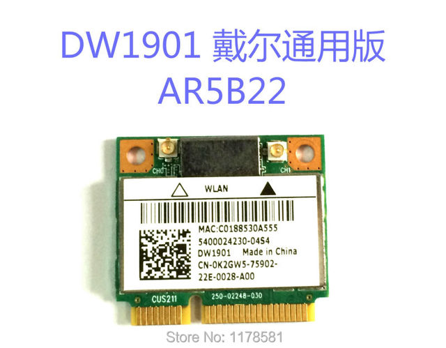 Atheros DW1901 AR5B22 802.1a/b/g/n 300M Wireless wifi express wlan mini pci-e Adapter Wi-fi + Bluetooth 4.0  Card for DELL