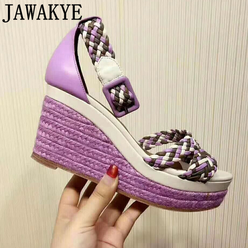 Rainbow hemp weaving sandals women genuine leather wedge high heel shoes fashion buckle strap hemp rope