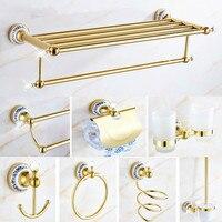 Bathroom Accessories Set Gold European Crystal Bathroom Hardware Set 8 Items In One Set