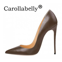 Carollabelly 2018 Woman High Heels Women   Shoes   Pumps Stilettos   Shoes   For Women Black High Heels 12CM PU Leather Wedding   shoes
