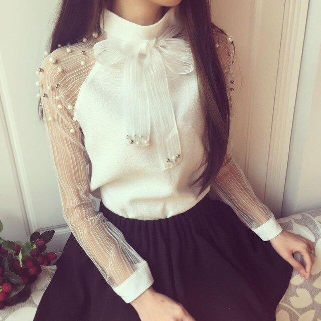 ab4b3eb1b44bd New Arrival Fashion Spring Elegant Organza Bow of Pearl White Blouse 2018  Casual Stand Collar All-match Chiffon Shirt 607I 25