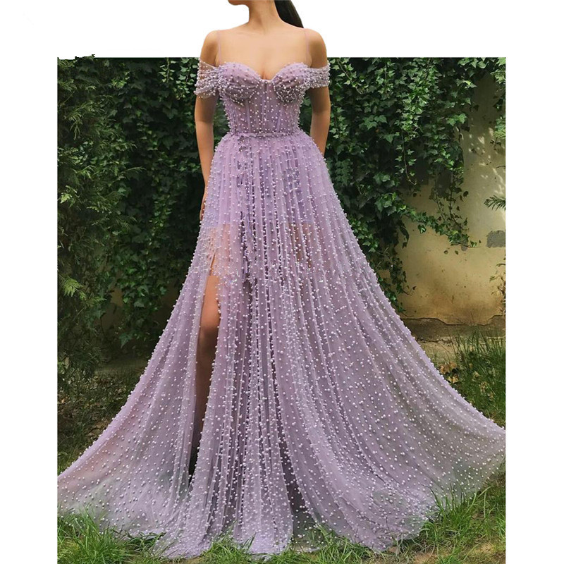 Lavender Muslim   Evening     Dresses   2019 A-line Off The Shoulder Tulle Pearls Dubai Saudi Arabic Long Formal   Evening   Gown