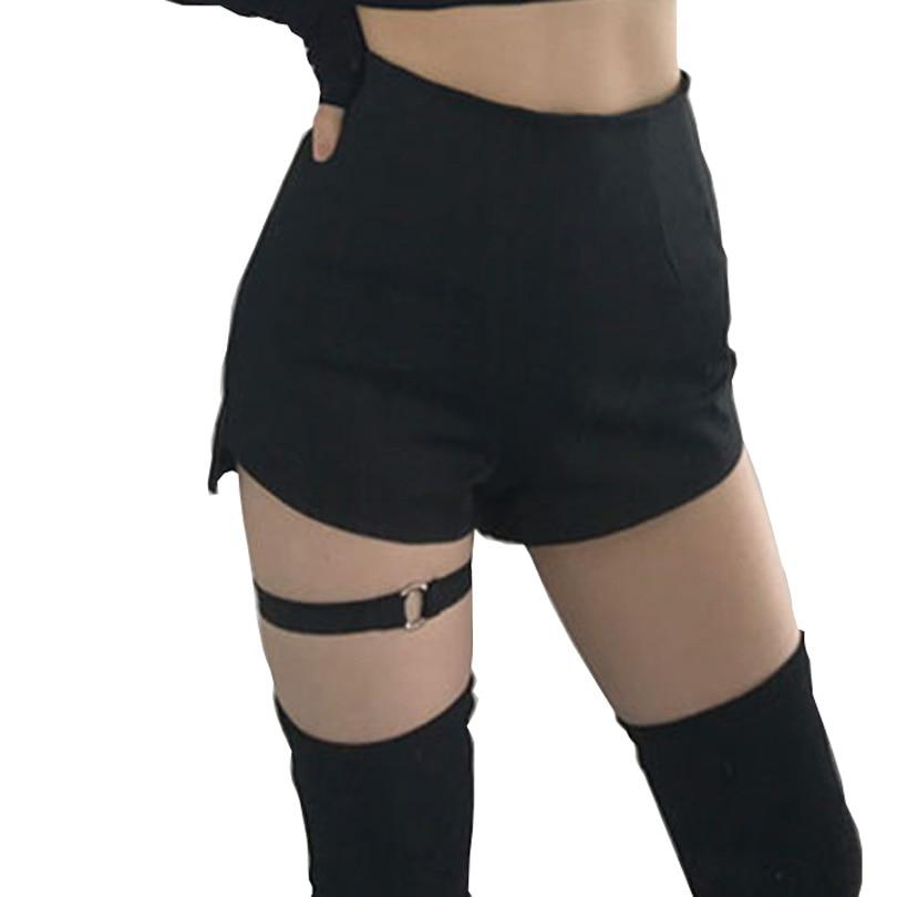 Chic Ring Garter Skinny Shorts High Waist Women Summer Black Goth Girls Shorts Harness Thigh Belt Strap Sexy Punk Shorts