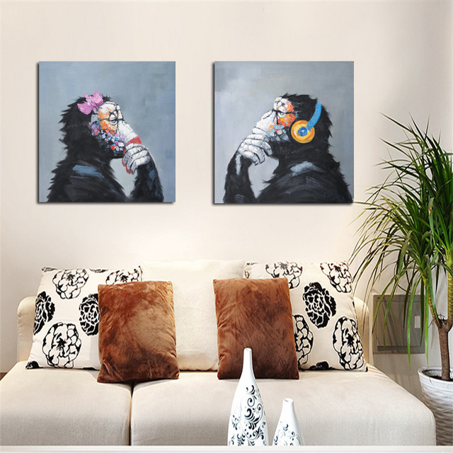 Print Modern Abstract Thinking Monkey With Headphone Cartoon Canvas Painting Animals Funny Wall Art Home Decor