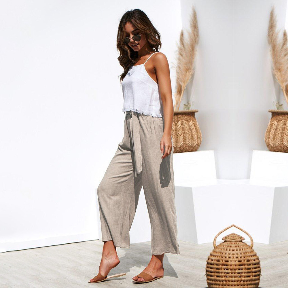Casual Cotton Linen High Waist Wide Leg Pants 44