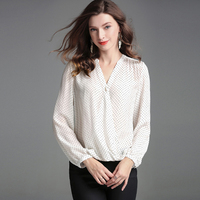 High End Women Satin Silk Blouse White Shirt Women 2019 New Polka Dot Print Silk Satin Blouses Shirts V Neck Sexy Woman Top