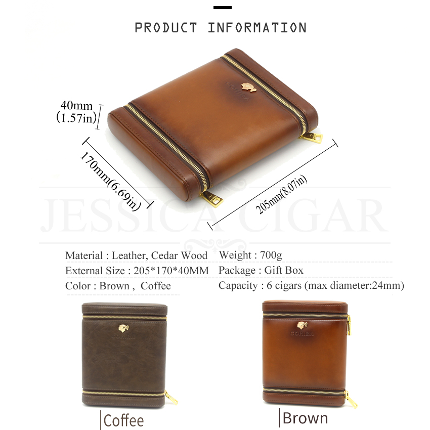 Mini Pocket Travel Cigar Case Portable 6 S Leather Cedar Wood Humidor Box Outdoor With