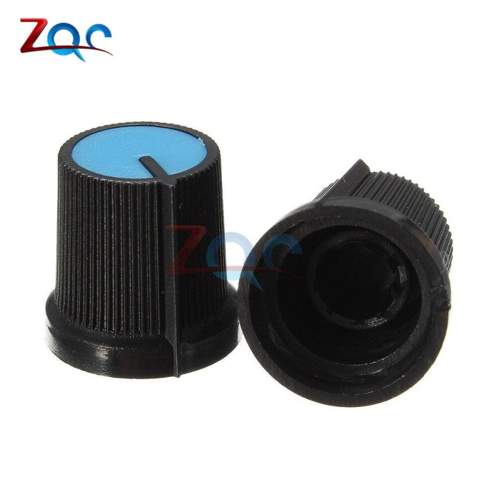 10PCS Black Knob Blue Face Plastic for Rotary Taper Potentiometer Hole 6mm hw50m 2k conductive plastic potentiometer cp 50