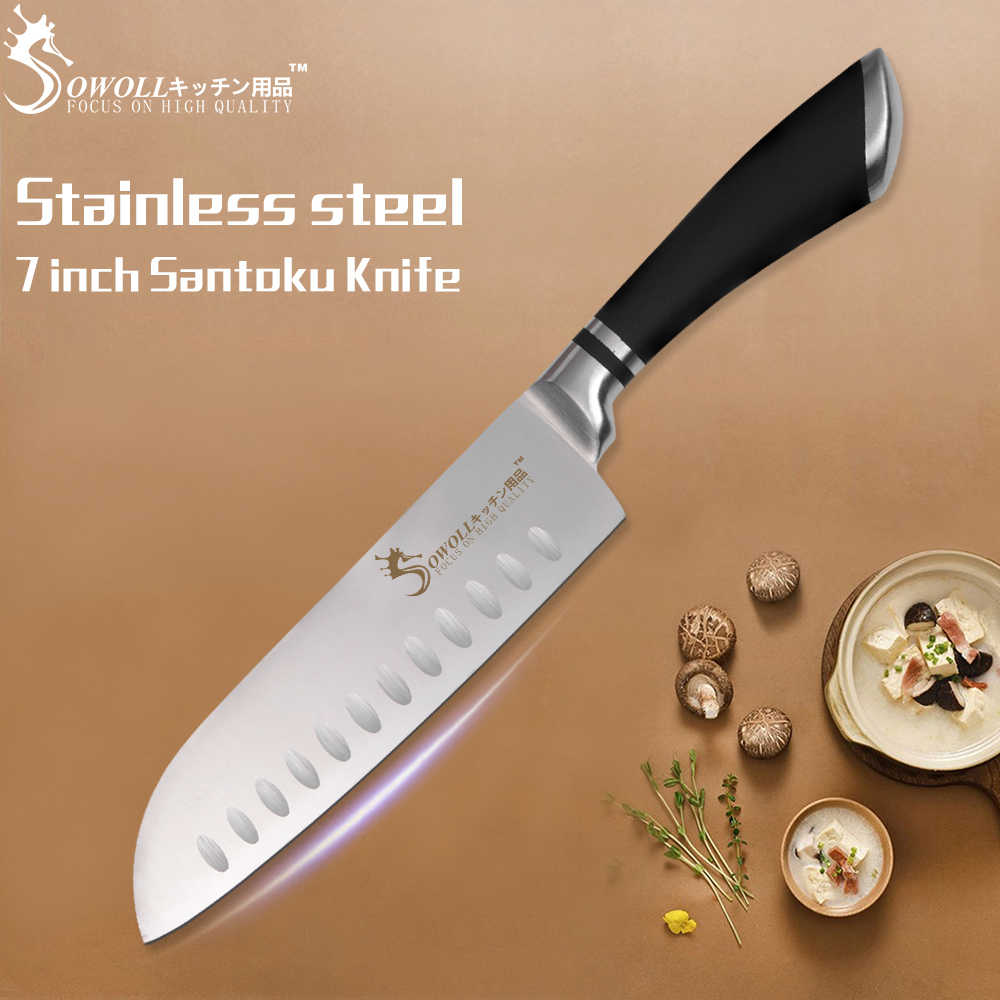 SOWOLL Brand Cooking Tools High Quality Stainless Steel Knives Set Japanese Cooking Knife Very Sharp Santoku Chef Kitchen Knives