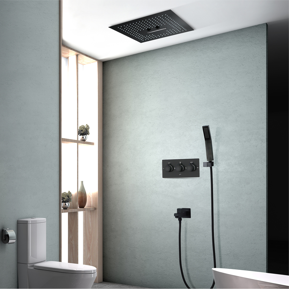 Waterfall Shower Set Sus304 Misty Showerhead Bathroom Remote Control Led Ceiling Rainfall Shower Unit Black
