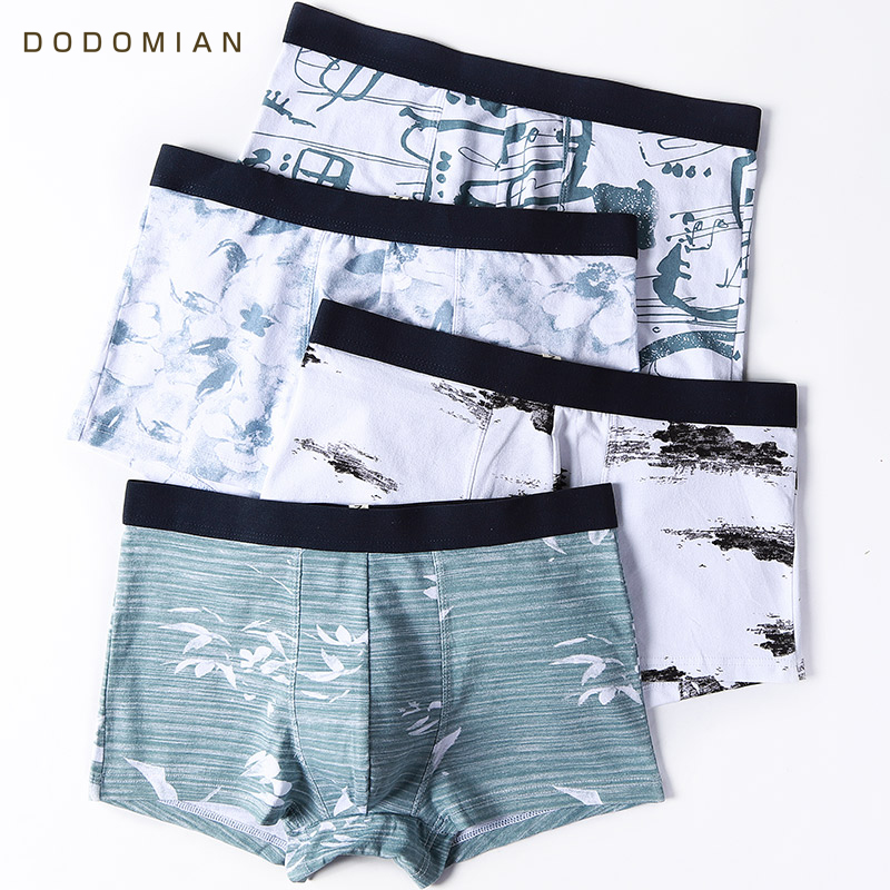 Boxer Men Underpants Cotton Ink-Painting Printed 4pcs/Lot Fashion Male Chinese-Style