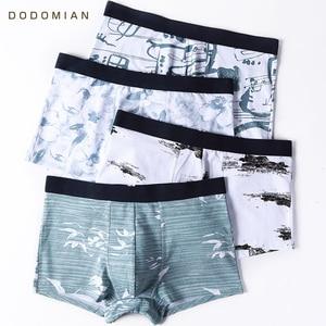 Image 1 - นักมวยชายผ้าฝ้ายพิมพ์ชุดชั้นในบุรุษนักมวยสไตล์จีนกางเกงแฟชั่นชายหมึกภาพวาด Boxershorts ชาย 4 ชิ้น/ล็อต
