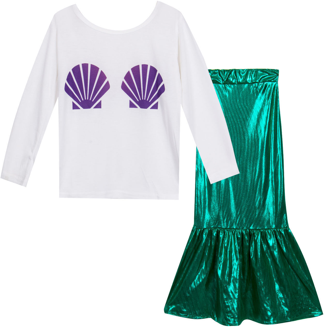 Baby Girl Shell Tops T-shirt+Skirts Mermaid Tail 2pcs Outfits Costume baby girls clothes summer children Princess Dress
