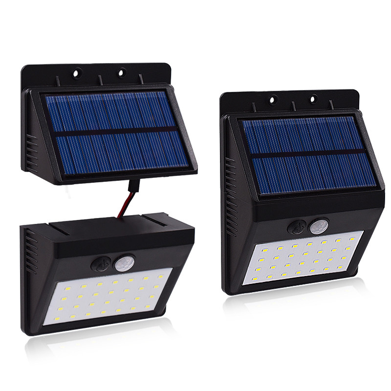 2pcs Waterproof 28 LED Separable Solar Panel Solar light PIR Motion Sensorr Garden Lamps 3 Modes Separable To Install Wall Lamp