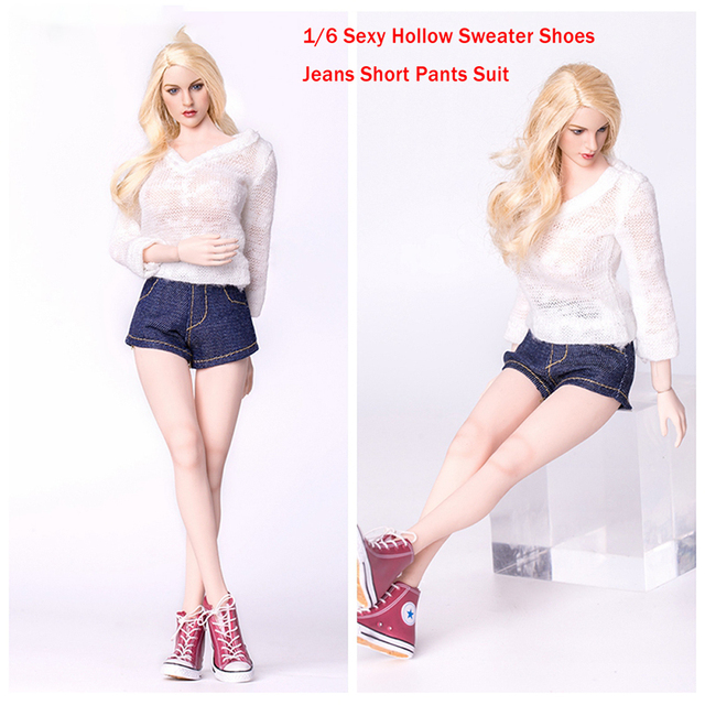 a44f6bb8386 1/6 Scale Clothing Accessories Sexy 12 Inch Jeans Hollow White Sweater  Shoes Set For Female Phicen HT Figure Body