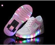 Roue Enfants Chaussures Enfants De Patins À Roulettes Chaussures Sneakers avec Roues Bleu rose Noir Net Led Light up pour Garçons Filles Enfants S YangXi