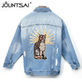 Vintage Cat Embroidery Denim Jacket Women 2017 New Spring High Quality Batwing Sleeve Outwear BF Hole Long Sleeve Jeans Coats
