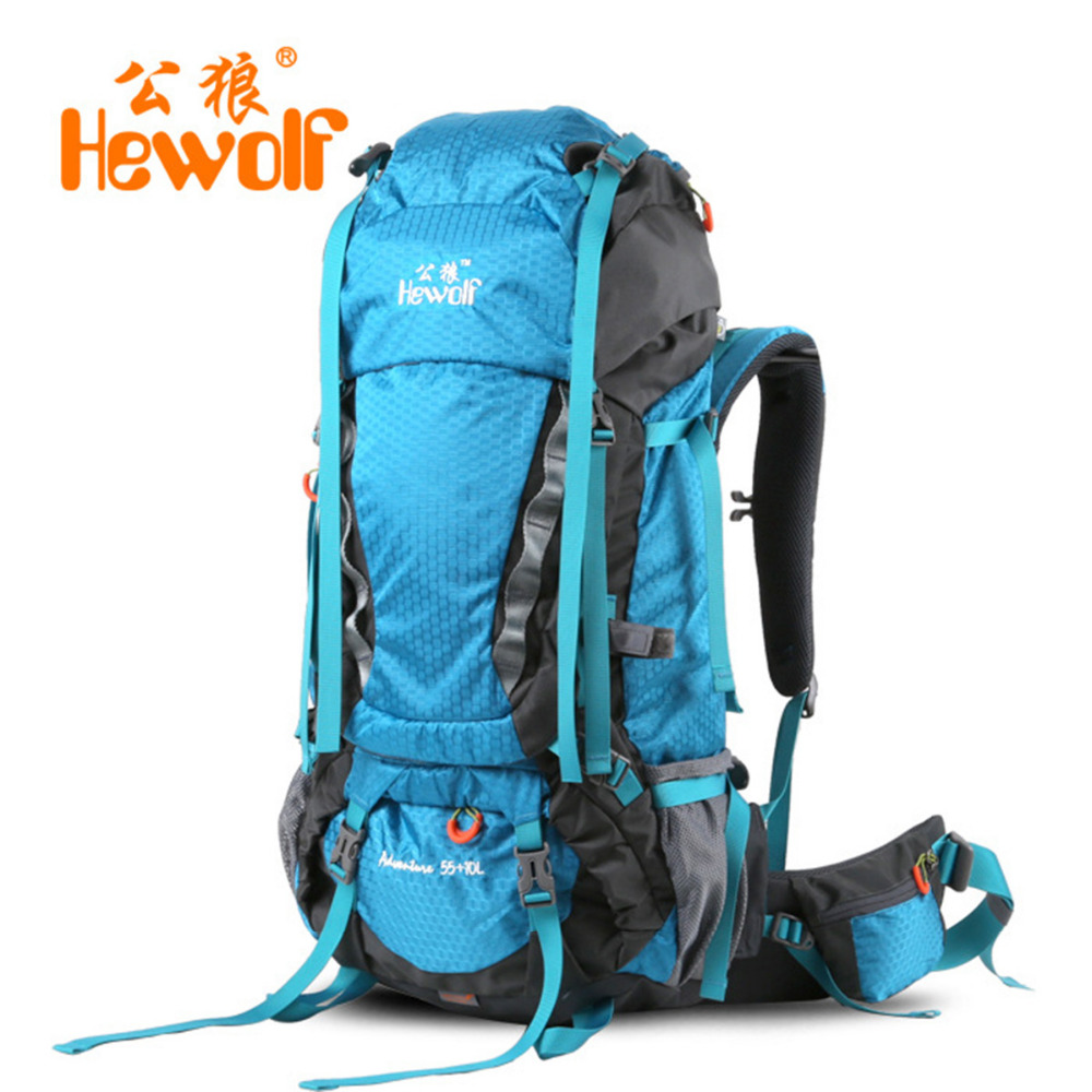 Hewolf 65L hiking backpacks climbing Rucksack shoulder bags Mountaineering Climbing Equipment Unisex Backpack for Outdoor Bags