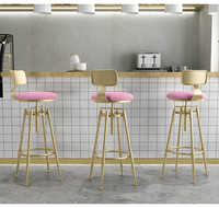 Nordic Goldend Metalic Bar Stools Modern Minimalist lifting Barstool with Back Fashionable Counter Chair Multicolor