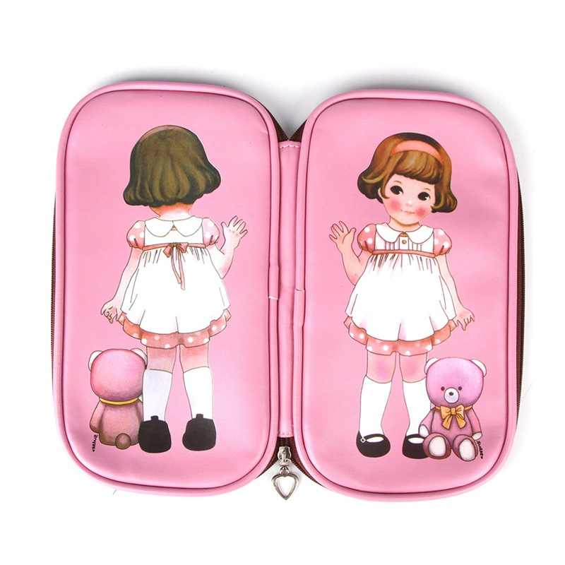 Retro pencil cases office&school supplies pen pink  Simple PU doll creative capacity 4 Colors