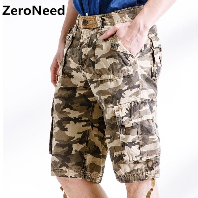 70819dc3f026a Armée Camouflage Cargo Shorts travail Bermuda pantalons de survêtement  marque vêtements Baggy Shorts militaire multi-