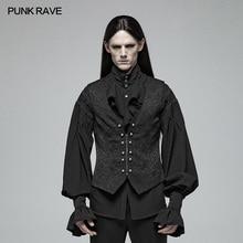 PUNK RAVE Men Gorgeous Gothic Retro Waistcoat Fashion Steampunk Metal Buckle Palace Vest Victorian Men's Jacquard Vest Waistcoat