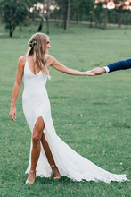 Verngo Mermaid Wedding Dress Boho Lace Gowns Sexy Side Slit  Bride V-Neckline Vestidos De Novia 201