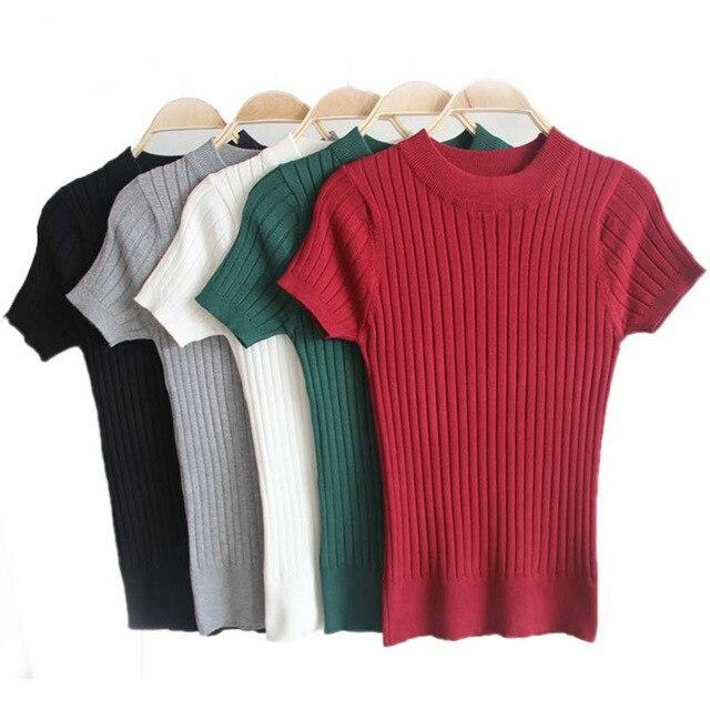 Základní tričko dámské tričko štíhlé tričko femme pletené tričko dámské topy sexy 2019 kawaii top vetement femme poleras de mujer