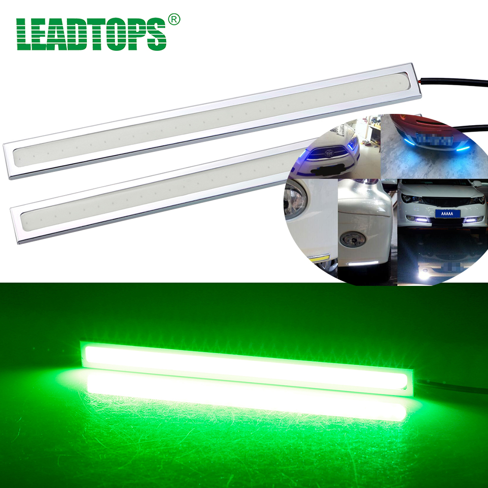 2PCS 17CM LED COB Chip LED Daytime Running Light 100% Waterproof Ultra thin DIY DRL Fog car lights Black and sliver housing BJ
