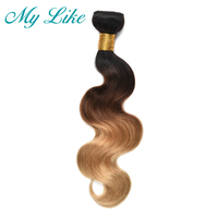 My Like One Bundle Ombre Brazilian Hair Weave 1b 4 27 Blonde Body Wave Human Hair Bundles 3 Tone Non remy Ombre Hair Extensions