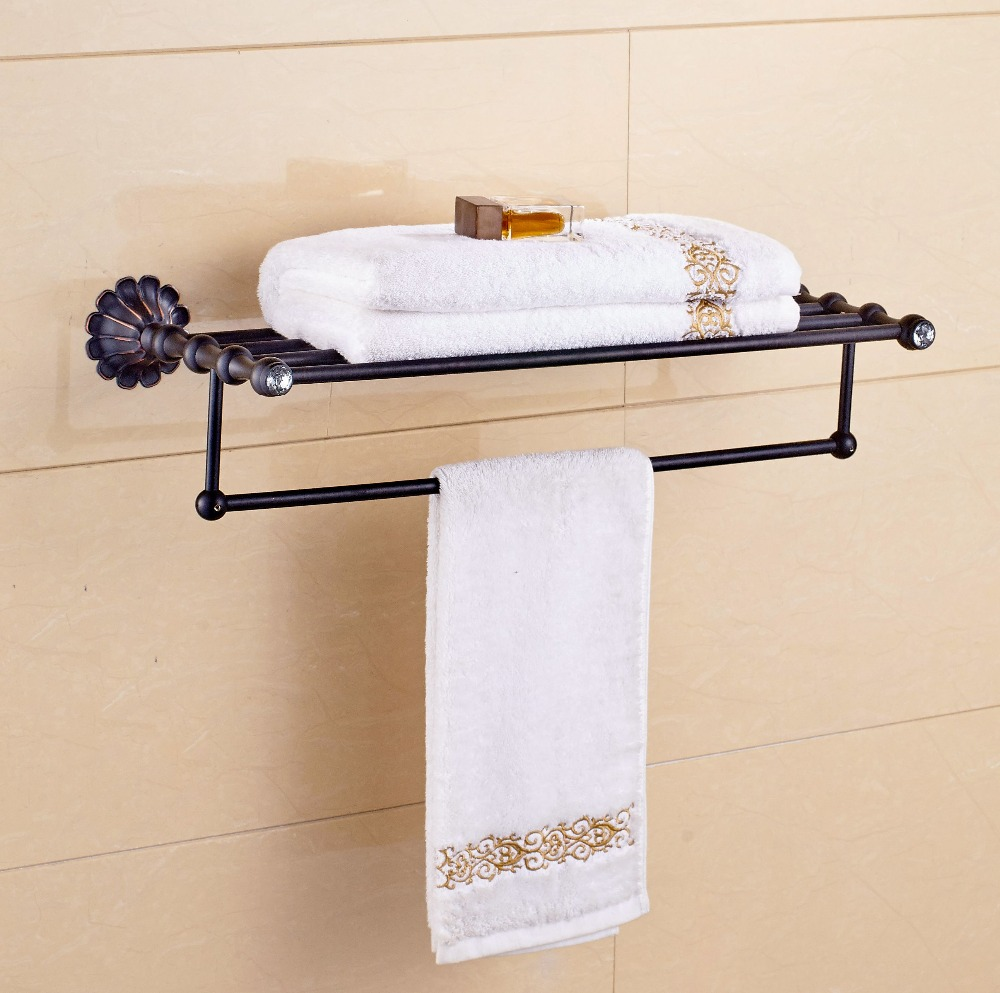 Eurpo Style Oil Rubbed Bronze Towel Shelf Bathroom Towel Holder Flower Craved Wall Mounted In