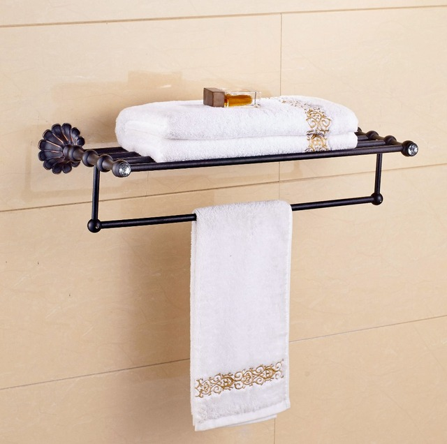 Eurpo Style Oil Rubbed Bronze Towel Shelf Bathroom Holder Flower Craved Wall Mounted