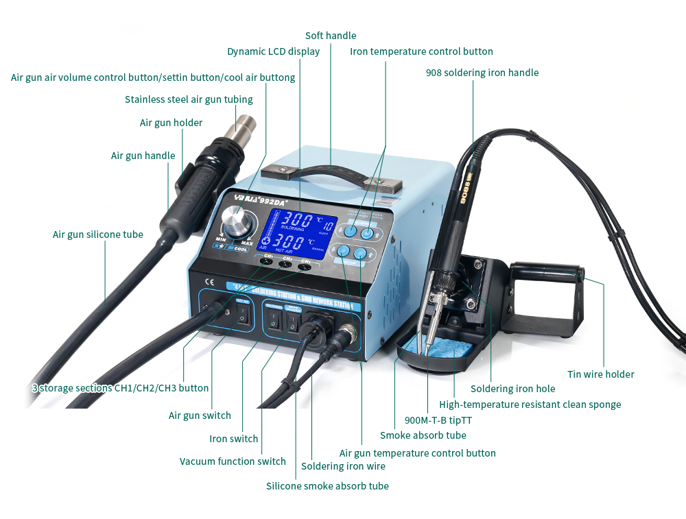 цена на YIHUA 992DA+ 3 In 1 Digital Display Hot Air Rework Soldering Iron Station Smoke Vacuum BGA Soldering Rework Station